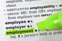 słownika zatrudnienie zdjęcie stock