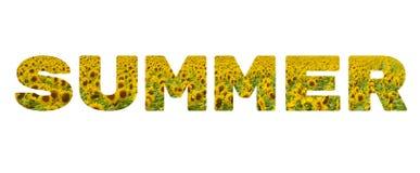 Słowo «lato « Żółta inskrypcja na białym tle obraz royalty free