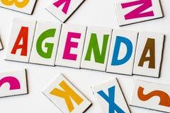 Słowo agenda robić kolorowi listy Zdjęcie Stock