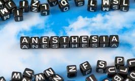 Słowo anestezja zdjęcia stock