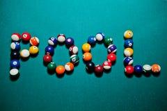 Słowo basen od bilardowych piłek Zdjęcie Stock