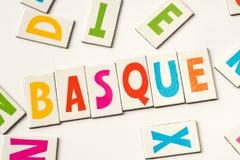 Słowo bask robić kolorowi listy fotografia royalty free