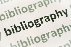 Słowo bibliografia drukująca na papierowy makro- obraz royalty free