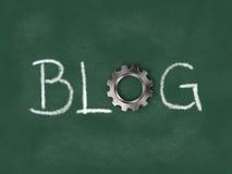 Słowo blog z przekładni kołem na chalkboard Obraz Royalty Free