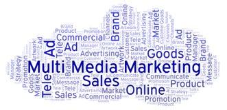Słowo chmura z teksta Wielo- Medialnym marketingiem ilustracja wektor