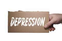 Słowo depresja pisać na kartonie Ścinek ścieżka obraz royalty free