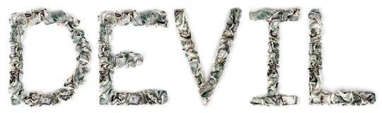 Diabeł - Crimped 100$ rachunki Zdjęcia Royalty Free