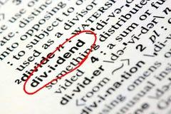 Słowo dywidenda w słowniku Obraz Stock