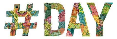 Słowo dzień z hashtag Wektorowy dekoracyjny zentangle przedmiot Ilustracja Wektor