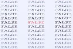 Słowo Fałszywy wśród jednakowego teksta Obrazy Royalty Free
