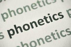 Słowo fonetyki drukować na papierowy makro- Obraz Stock