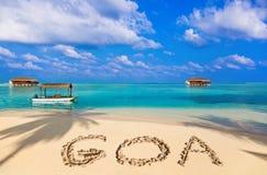 Słowo Goa na plaży fotografia stock