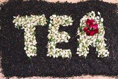 Słowo herbata robić wysuszeni jaśminowi kwiatów pączki nad czarnymi herbacianymi liśćmi z wysuszonymi czerwieni róży kwiatami roz Obraz Stock