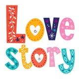 Słowo historii miłosnej retro typografia pisze list dekoracyjnego tekst Obrazy Royalty Free