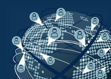 Słowo interneta i socjalny networking szeroki pojęcie ilustracja wektor