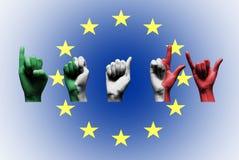 Słowo Italy nad europejską zrzeszeniową flaga Obrazy Stock