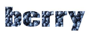 Słowo jagoda komponująca świeże czarne jagody niebieski jedzenie czarne jagody dojrzałe Odgórny widok tło blueberry konsystencja  Obrazy Royalty Free