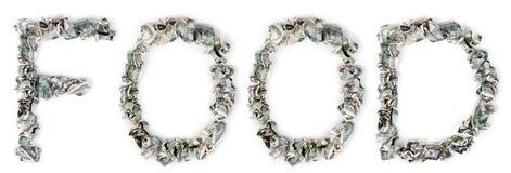 Jedzenie - Crimped 100$ rachunki Zdjęcia Stock