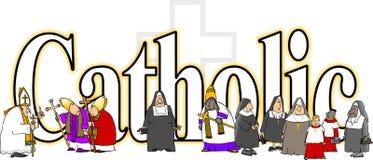 Słowo katolik ilustracja wektor