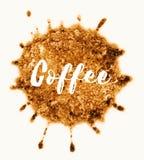 Słowo kawa pisać w kawowej plamie Zdjęcie Stock