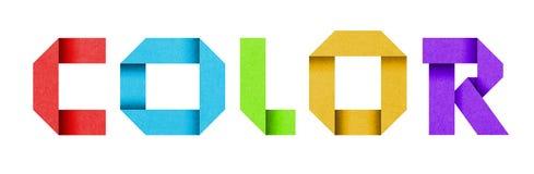 Słowo kolor robić od barwionego papierowego abecadła Zdjęcie Royalty Free