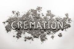 Słowo kremacja pisać w popióle Fotografia Royalty Free