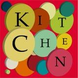 Słowo kuchnia piłki z 3d skutkiem ilustracji