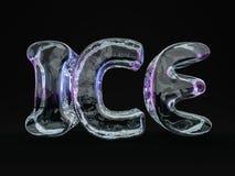 Słowo lód robić od lodów listów na czarnym tle 3d Obraz Stock