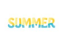 Słowo lato w żółtym i błękitnym Zdjęcia Royalty Free