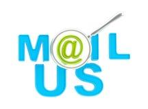 Słowo mail my pod magnifier Zdjęcia Stock