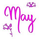 Słowo Maja wektorowy literowanie z kwiatami Różowy kobieta miesiąc Sezon wiosny stylu kalendarza karta t?a odcisku palca ilustrac ilustracji