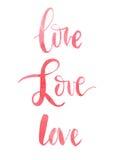 Słowo miłość, akwarela, kaligrafia Zdjęcie Royalty Free