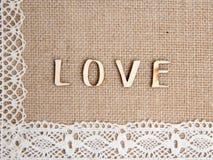 Słowo miłość na burlap fotografia stock