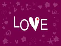 Słowo miłość na purpurze Fotografia Stock