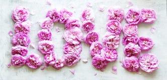 Słowo miłość od różowych herbacianych róż Fotografia Royalty Free