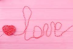 Słowo miłość robić od sznurka Obrazy Royalty Free