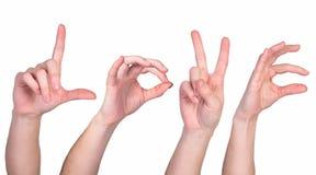 Słowo miłość robić rękami i palcami Zdjęcie Stock