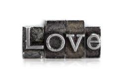 Słowo miłość w letterpress typ Obraz Royalty Free