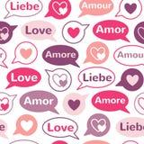 Słowo miłość w różnych językach z mową gulgocze bezszwowego wzór Zdjęcie Royalty Free