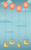 Słowo miłość z czerwonymi balonami Zdjęcie Royalty Free