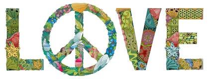 Słowo miłość z symbolem pokój Wektorowy dekoracyjny zentangle przedmiot royalty ilustracja