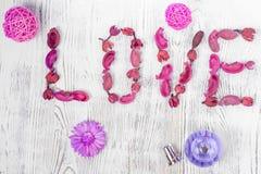 Słowo miłości kwiatów pachnidło obrazy royalty free