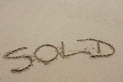słowo na plaży Fotografia Royalty Free