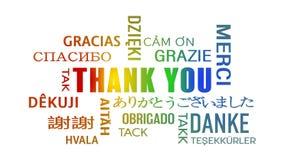 Słowo obłoczna animacja - Dziękuje ciebie ilustracji