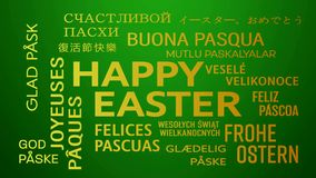 Słowo obłoczna animacja zielony kolor żółty - szczęśliwy Easter - ilustracja wektor