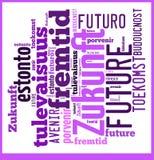 Słowo Obłoczna przyszłość w różnych językach zdjęcia royalty free
