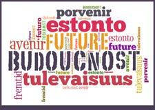 Słowo Obłoczna przyszłość w różnych językach obrazy stock