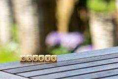 Słowo ogród, stawiający wpólnie pojedynczymi listami zdjęcia royalty free