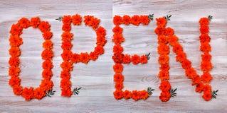 Słowo OTWARTY na drewnianej powierzchni, prążkowani kwiaty nagietek Zdjęcia Stock