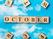 Słowo Październik Zdjęcia Royalty Free